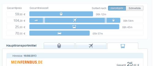 Screenshot von GoEuro.de