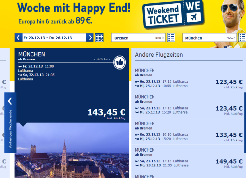Homepage von TUIfly.com